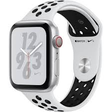 Watch Series 4 Aluminum Cellular (44mm), Silver, Pure Platinum/Black Nike Sport Band